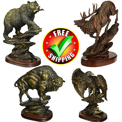 Bronze Sculpture Statue Bison Antiqued Large Elk Bear Modern Abstract Buffalo