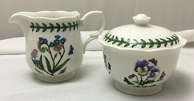 Portmeirion Botanic Garden wavy sugar bowl and creamer set EXCELLENT