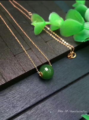 14mm collect China natural Hetian Jasper Jade Hand-carved Bead Pendant HSBS