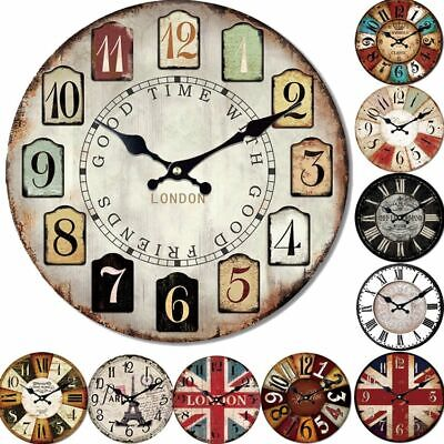 Bamboo Wooden 5mm Wall Clocks Antique Style Needle Clock For Home Decoration New