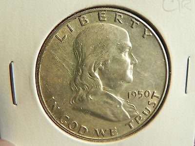 "~1950~  Franklin Half Dollar ""very Nice Circulated Silver Coin"""