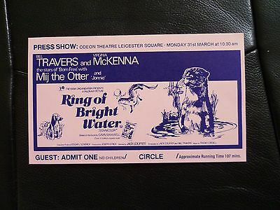 Ring of Bright Water Press Show Odeon Leicester Square -  TICKET  1969?