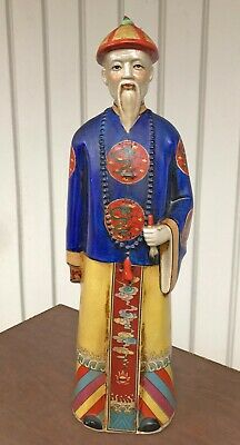 "Vintage Large Hand Painted Chinese Emperor Sculpture With Dragons 18""T"
