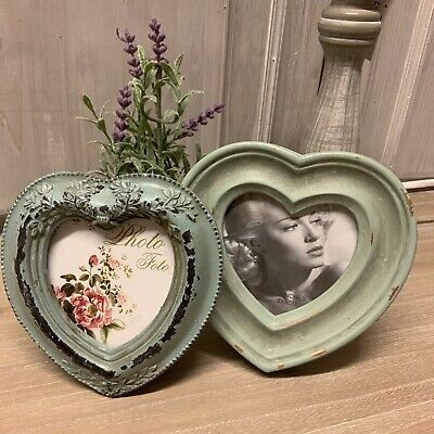 Duck Egg Blue Heart Photo Frame Vintage Chic French Country Shabby Picture