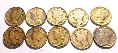 Collectible United States Silver Mercury Dime Coin Lot of 10 1919-42