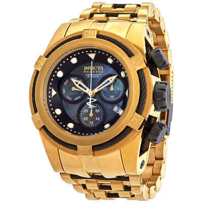 Invicta Bolt Reserve Chronograph Black Dial Gold Ion-plated Men's Watch 12737