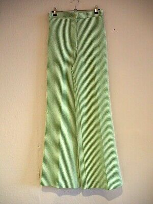 Vintage 1970s high waisted green and white stripe flares flared trousers