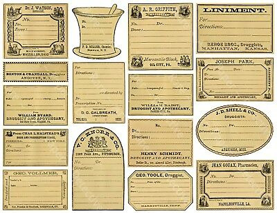 16 APOTHECARY LABELS, Sticker Sheet, Blank Druggist & Pharmacy Labels Art