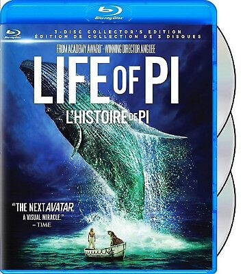 Life Of Pi (Ang Lee) - 3 Disc Set *New Blu-Ray 3D + Blu-Ray 2D + Dvd Set*