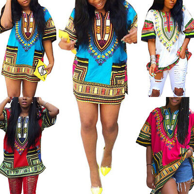 Dashiki Herren Damen Afrikanische T-Shirt Top Traditionell Tribal Lang BLUSE
