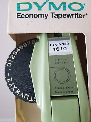 Vintage Dymo 1610 Tapewriter - classic Avocado Green color - with box