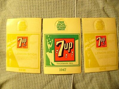 3 Vintage 7 UP Decal Stickers