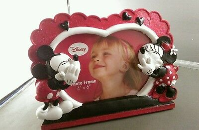 """Mickey & Minnie Mouse 4"""" x 6"""" photo frame heart  or valentine NEW"""