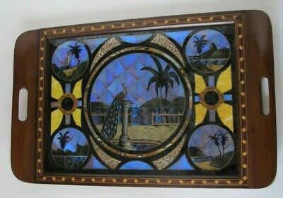 """Antique Brazil Iridescent Butterfly Tray Inlaid Wood Peacock 20"""""""