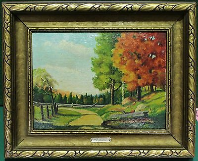 """Vintage Oil Painting On Board - """"Late October"""" By Canadian Artist """"Flansburgh"""""""