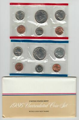 1986 US Mint Uncirculated Coin Set in OGP Envelope 10 Coins P & D
