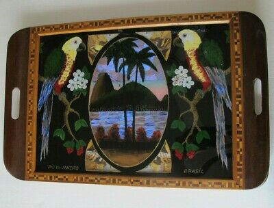 """Large Vintage Rio de Janeiro Brazil Butterfly Tray Inlaid Wood Parrots 20"""" x 13"""""""