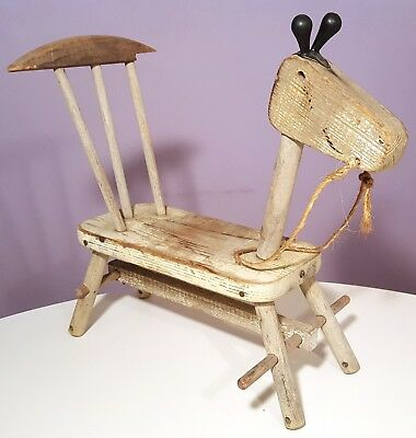 Antique Wooden Rocking Horse Stool Handcrafted Primitive Ragged Aged