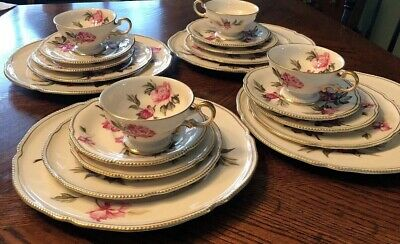 Castleton China Peony Service For Four 5 Pc Place Settings Perfect