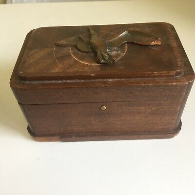 French Box bronze bird on lid oak inlay 1930's baize lined.