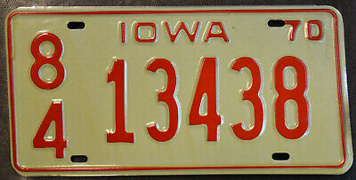 Iowa License Plate 1970 SIoux County 84 13438