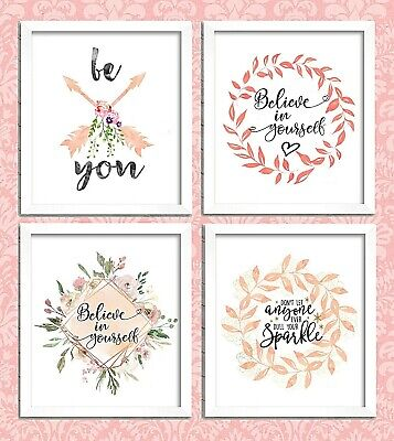 Motivational Inspirational Quote Posters Cards Prints A4 A6 Believe Sparkle