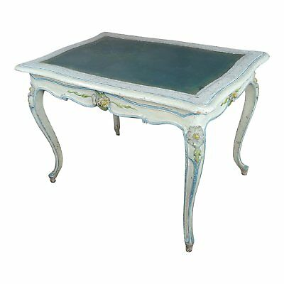 19th century Venetian Painted Ladies desk w/Green leather top