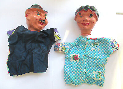 Vintage 1950s / 60s Punch & Judy Hand Puppets - Judy & The Constable Policeman