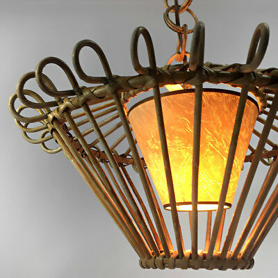 ANCIENNE SUSPENSION ROTIN VINTAGE RATTAN PENDANT LIGHT DESIGN ANNÉES 50's