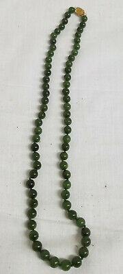Antique Chinese 825 19k 18kt Gold Nephrite Green Jade Necklace Jewelry