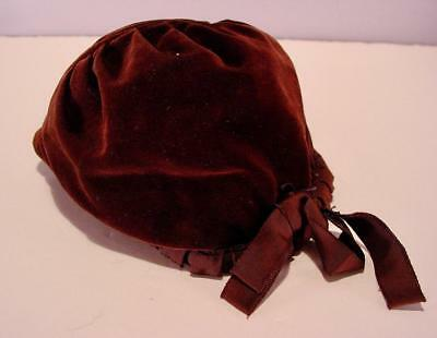 Vintage Child's Bown Velvet Lined Bonnet Hat With Bow 1940's Or 50's
