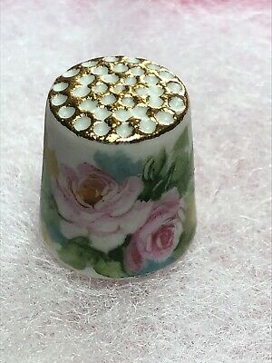 Thimble Bisque White And Pink Roses Signed