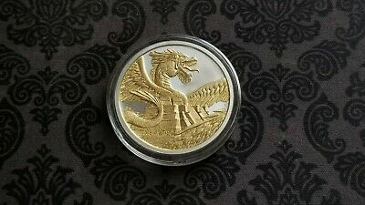 The Aztec - World Of Dragons - 1 Oz Silver 24K Gold Guilded In Capsule