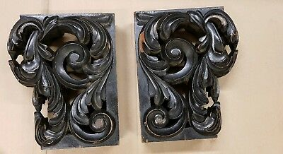 Pair of Victorian Carved  Limewood Brackets