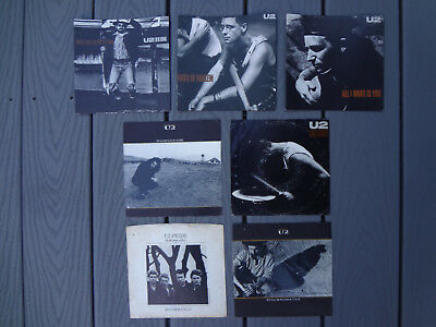 "7 LOT 1980s U2 RATTLE & HUM CLASSIC 45 7"" VINYL PICTURE SLEEVES ONLY NO RECORD"