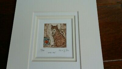 """Doroth Lloyd Griffiths """"Who Me!"""" Etching Print of Cat - Signed"""