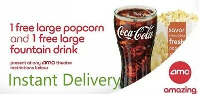 INSTANT DELIVERY. AMC: FREE 1 LARGE Popcorn and 1 LARGE Drink - exp 6/30/20