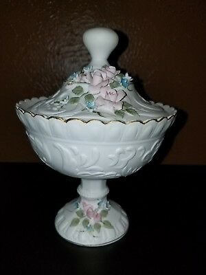 Lefton China - Covered Candy Dish - Pink Roses - Numbered 1519