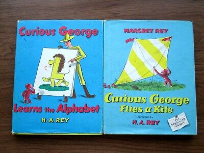 Lot of 2 Vintage CURIOUS GEORGE books by Margaret & HA REY w/DJ 1958 1963 monkey
