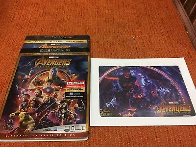 Avengers Infinity War 4K Uhd Bluray Digital Copy Slip Cover Exclusive Lithograph