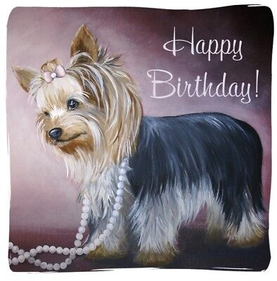 Yorkshire Terrier Yorkie PRINT From Painting Art Dog BIRTHDAY CARDS