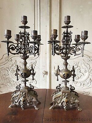 ON SALE - Antique French Candelabra Pair Rare Bronze Tall  - OF550