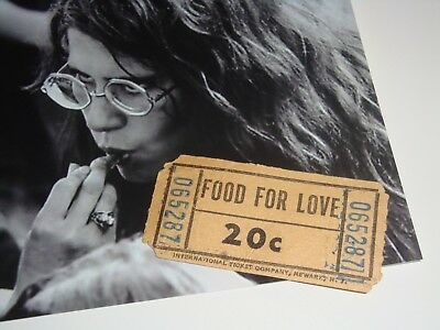 Woodstock 1969 Food For Love Concession Coupon Ticket Jimi Hendrix Janis Joplin