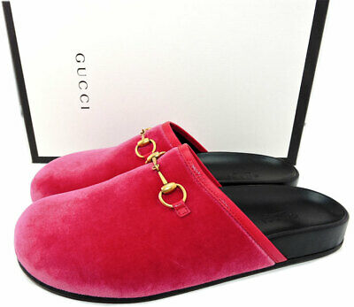 71485e47b902 GUCCI Pink Velvet Mules Gold Horsebit New River Slides Mules Clogs Shoes 38