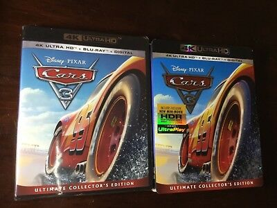Disney Pixar Cars 3 4K Ultra Hd Blu Ray 3 Disc Set + Slipcover Free Shipping
