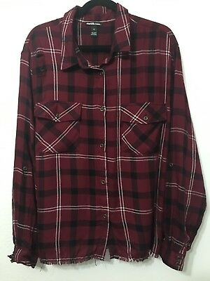 dd957bf0f36 Charlotte Russe Womans Plus Size 3X Button Front Top Plaid Maroon Black NWT