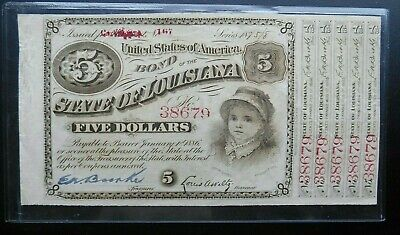 1870'S $5 State Of Louisiana Baby Bond Certificate. Crisp, With 5 Coupons.