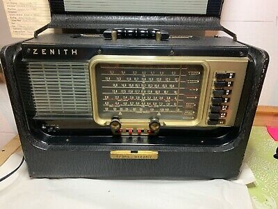 Vintage Zenith L600 Trans-Oceanic Wave Magnet Shortwave Portable Tube Radio