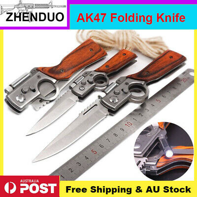 AK47 Folding Pocket knife Outdoor Camping Survival Hiking Hunting with Light