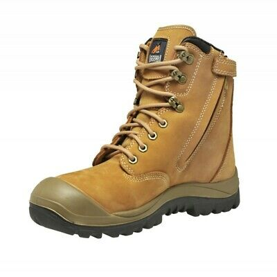 Mongrel Work Boots. Safety Steel Toe Cap. Wheat, High Ankle, ZipSider; UK 12